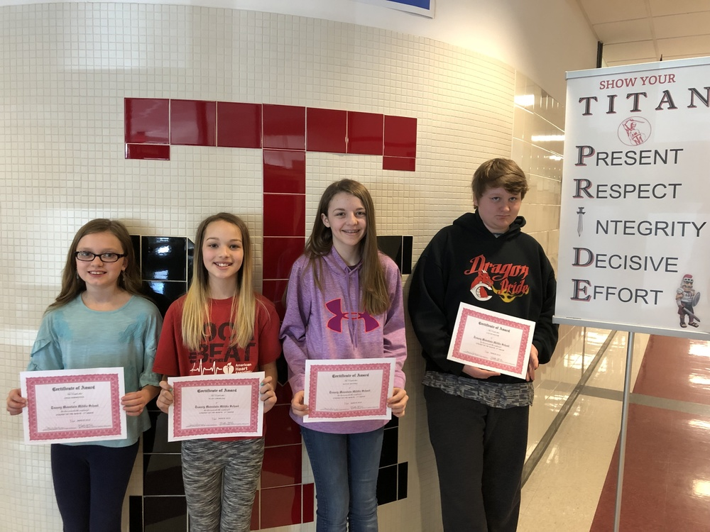 March's Middle School Students of the Month