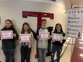 January's Middle School Students of the Month