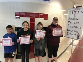 April's Middle School Students of the Month